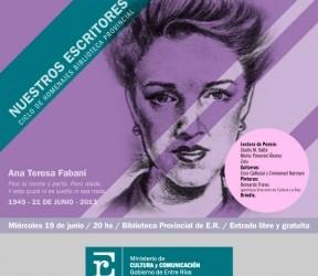 En la Biblioteca Provincial: Ana Teresa Fabani será homenajeada en el ciclo Nuestros Escritores