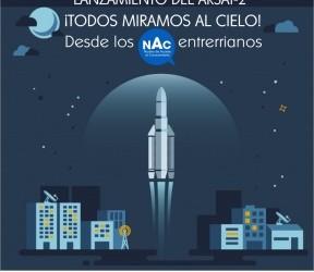 Este miércoles:  Podrá verse el lanzamiento del Arsat 2 en los NAC de la provincia