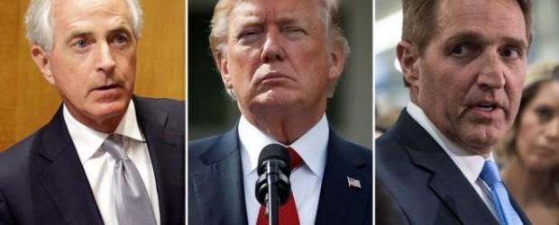 """""""Peligroso"""" y """"totalmente mentiroso"""": las duras críticas a Trump de Bob Corker y Jeff Flake, los influyentes senadores del partido Republicano"""