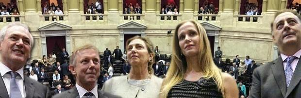 Diputados nacionales: Juraron Benedetti, Fregonese, Lacoste, Bahillo y Cresto