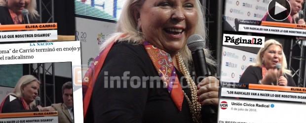 Interna Cambiemos: Amplia repercusión del video de la burla de Carrió a los radicales