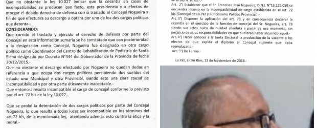 Militantes justicialistas iniciaron el trámite de destitución//  Es oficial: Echaron a Nogueira del Concejo Deliberante de La Paz