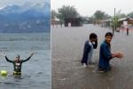 En medio de las inundaciones en el Litoral, el responsable de evitarlas se fue a nadar