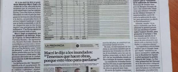 Solo se construyeron 14 viviendas para inundados de las 1.817 que Macri anunció en La Paz en 2016