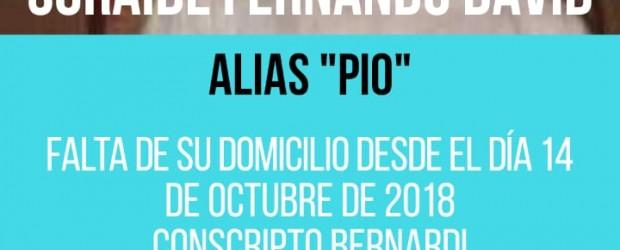 """C. BERNARDI: Se cumplen hoy tres meses de aquel 15 de Octubre, último mes que se lo vio a Fernando """"Pio"""" Soraide en la localidad."""