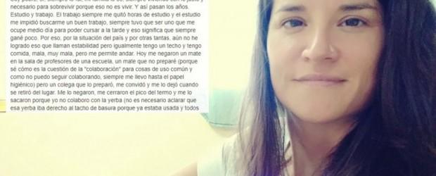 PARANA: A docente paranaense le negaron un mate porque no tenía para la yerba