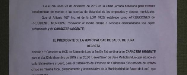 SESIÓN DE EMERGENCIA EN S. DE LUNA: El ejecutivo convocó a sesión extraordinaria este domingo pasado.